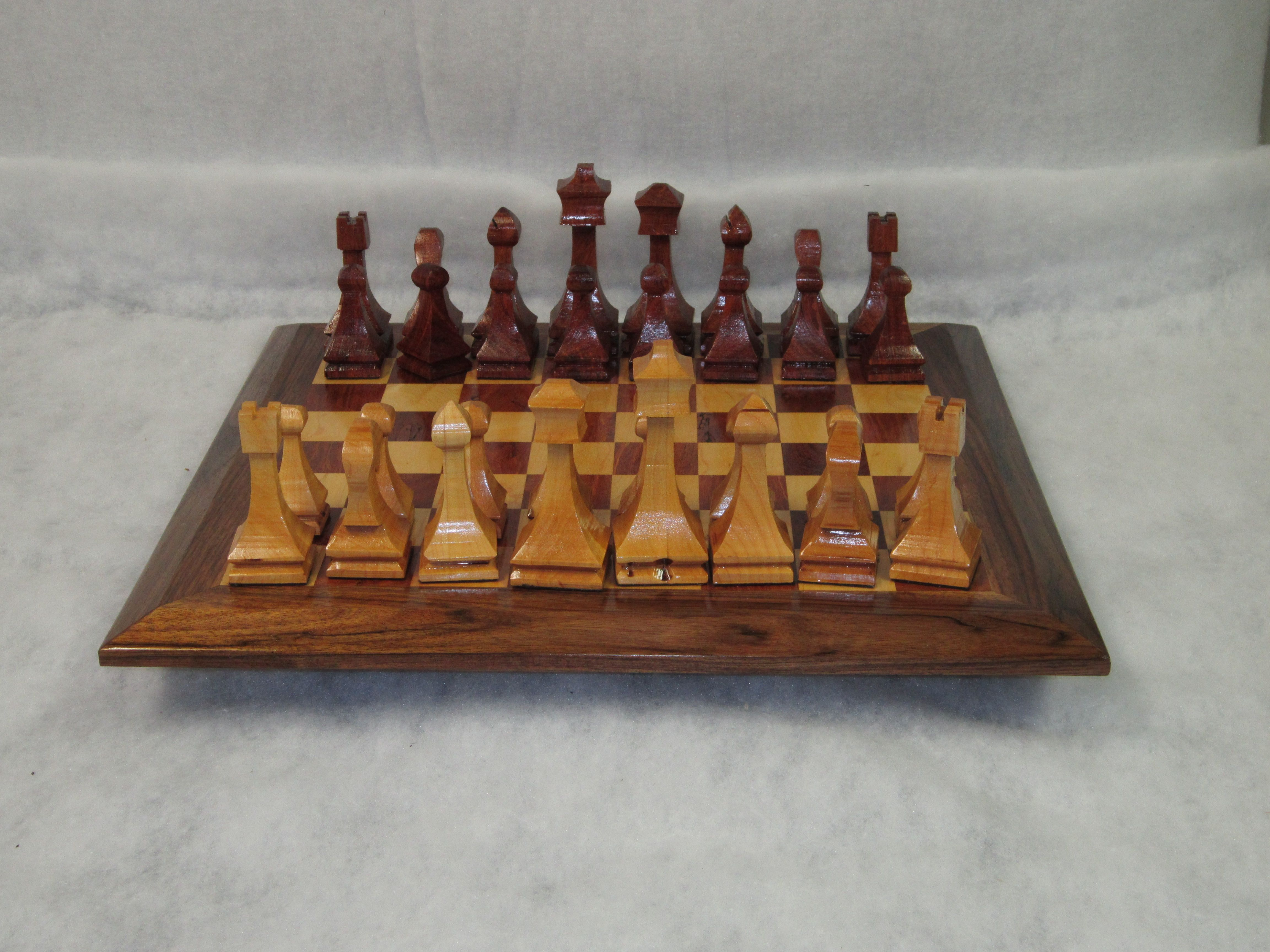 Chess Board and pieces made from Walnut and Maple, beautiful piece.