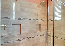 Gorgeous Dream Shower In Luxury Bathroom With Frameless Glass