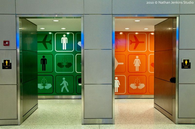 Public restroom entries at jfk airport in the terminal 5 for Beautiful washrooms