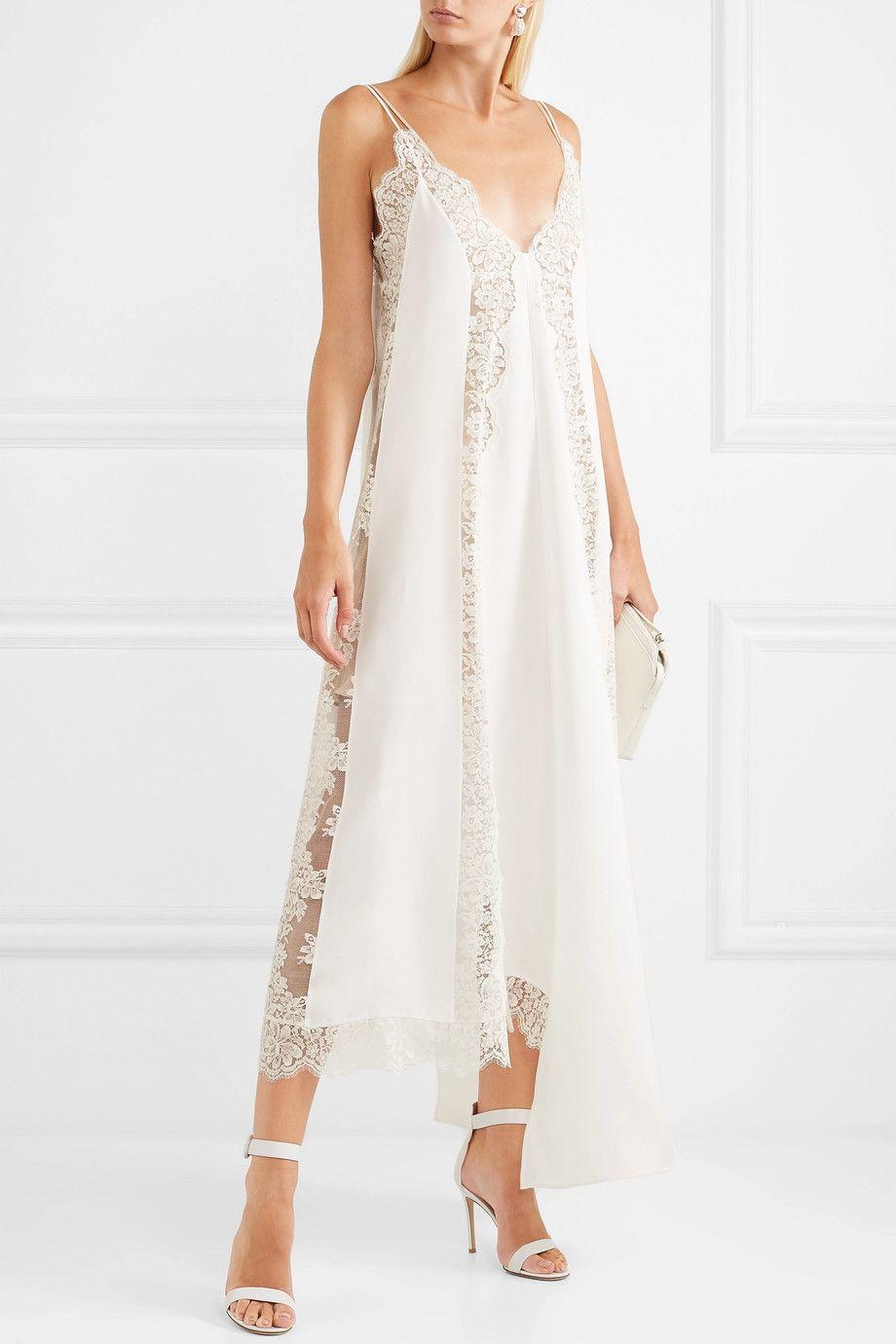 4da3fb1a2 Stella McCartney - Asymmetric lace-trimmed silk crepe de chine dress ...