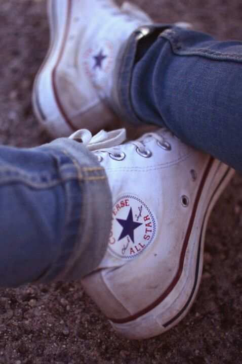 Bright white high top chuck taylor