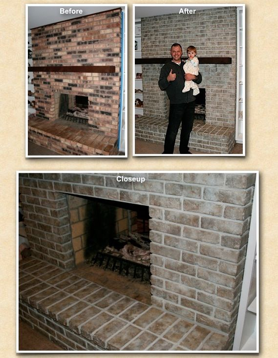 After A Long Day Everyone Was Happy With The New Look Of This Newly Stained And Transformed Fireplace Br Contemporary Fireplace Brick Fireplace Exterior Brick