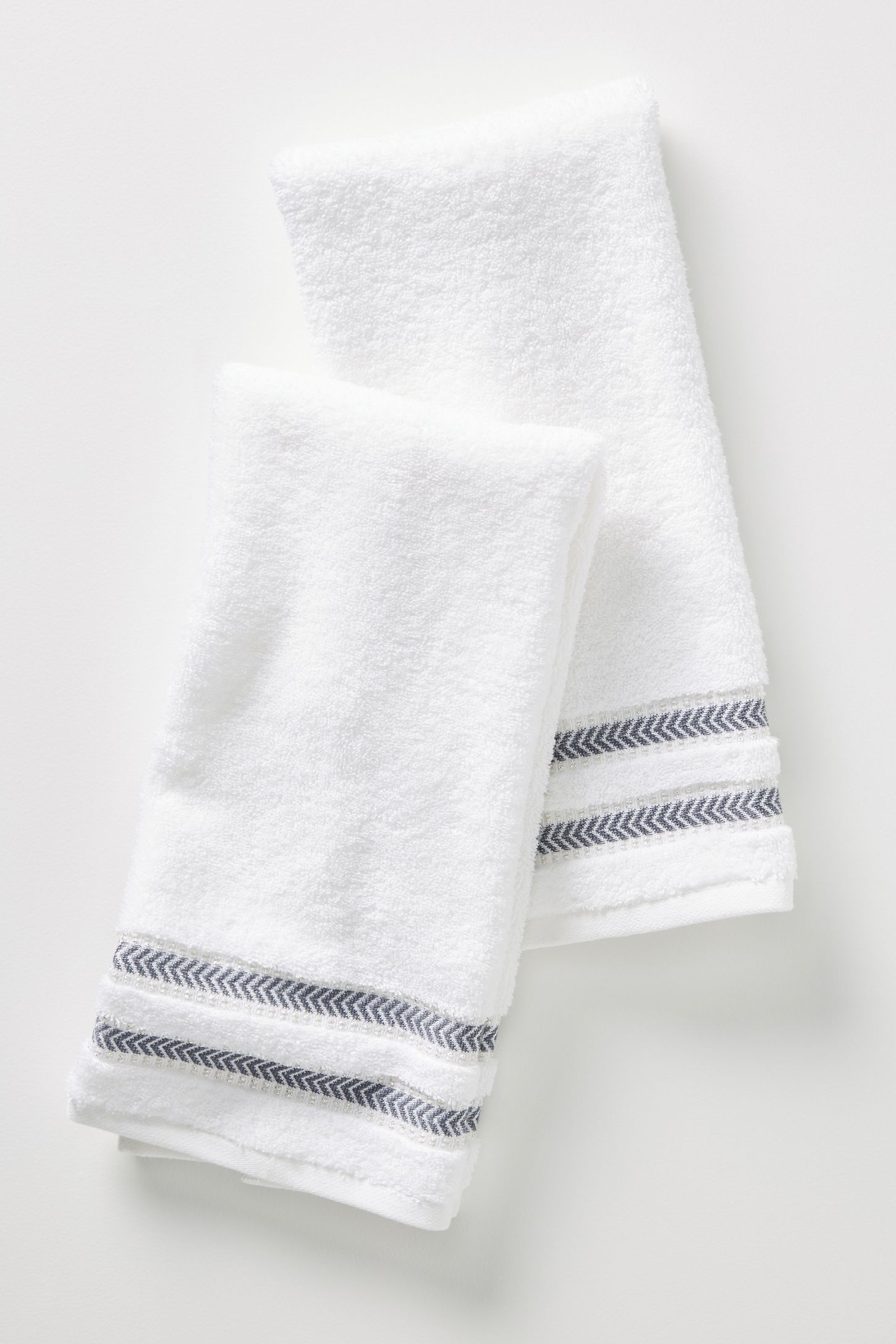 Maisie Metallic Hand Towels, Set of 2 by Anthropologie in White, Bath #handtowels