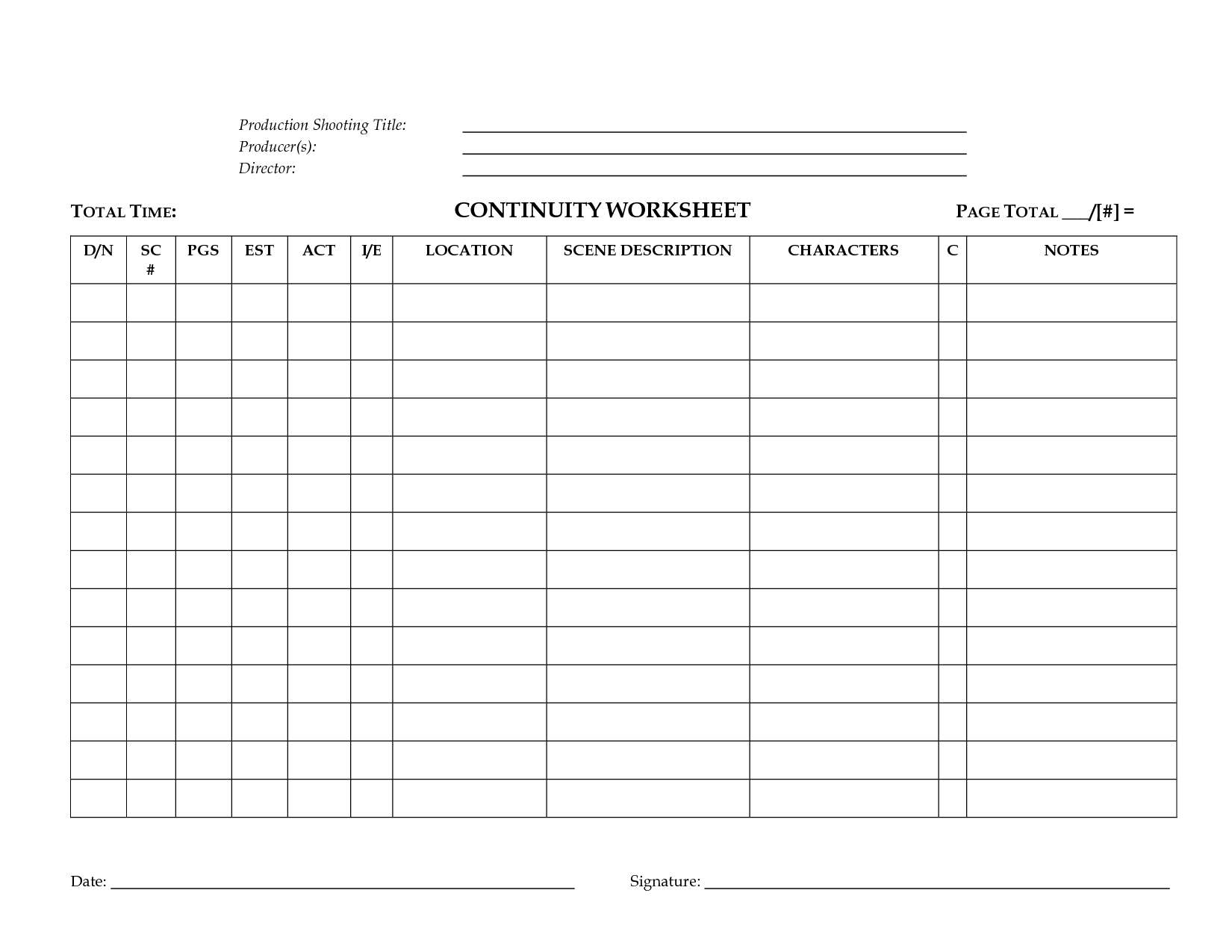Continuity Worksheet For Film Or Tv Production By Megadox