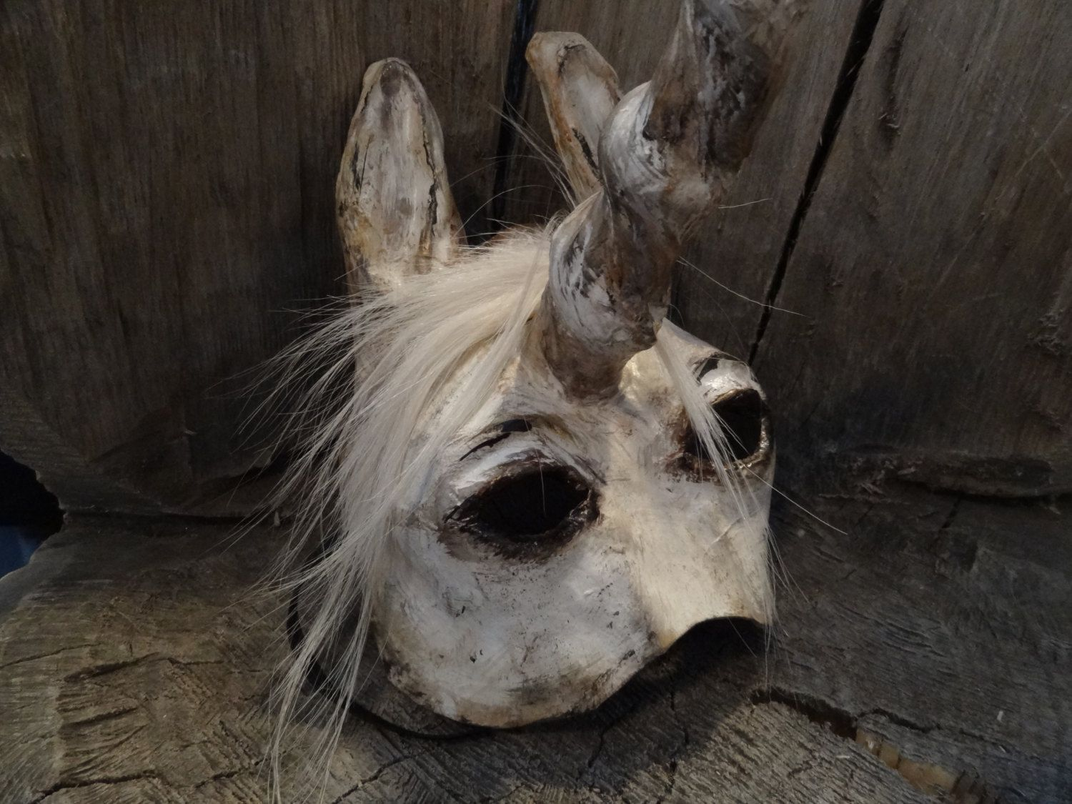 Animal masquerade masks paper mache horse Unicorn mask. $58.00 ...