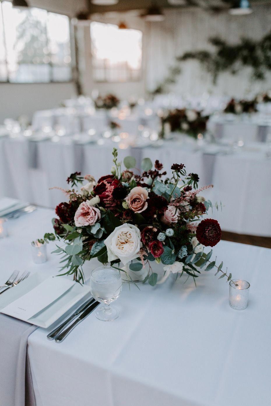 Blush And Burgundy Centerpieces Weddingflowers T N B Flowers