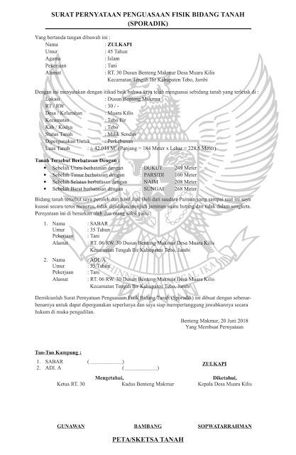 Contoh Surat Orton Contoh Surat Pernyataan Penguasaan Fisik Bidang Tanah Sporadik Doc Word Kata Kata Indah Surat Pengetahuan