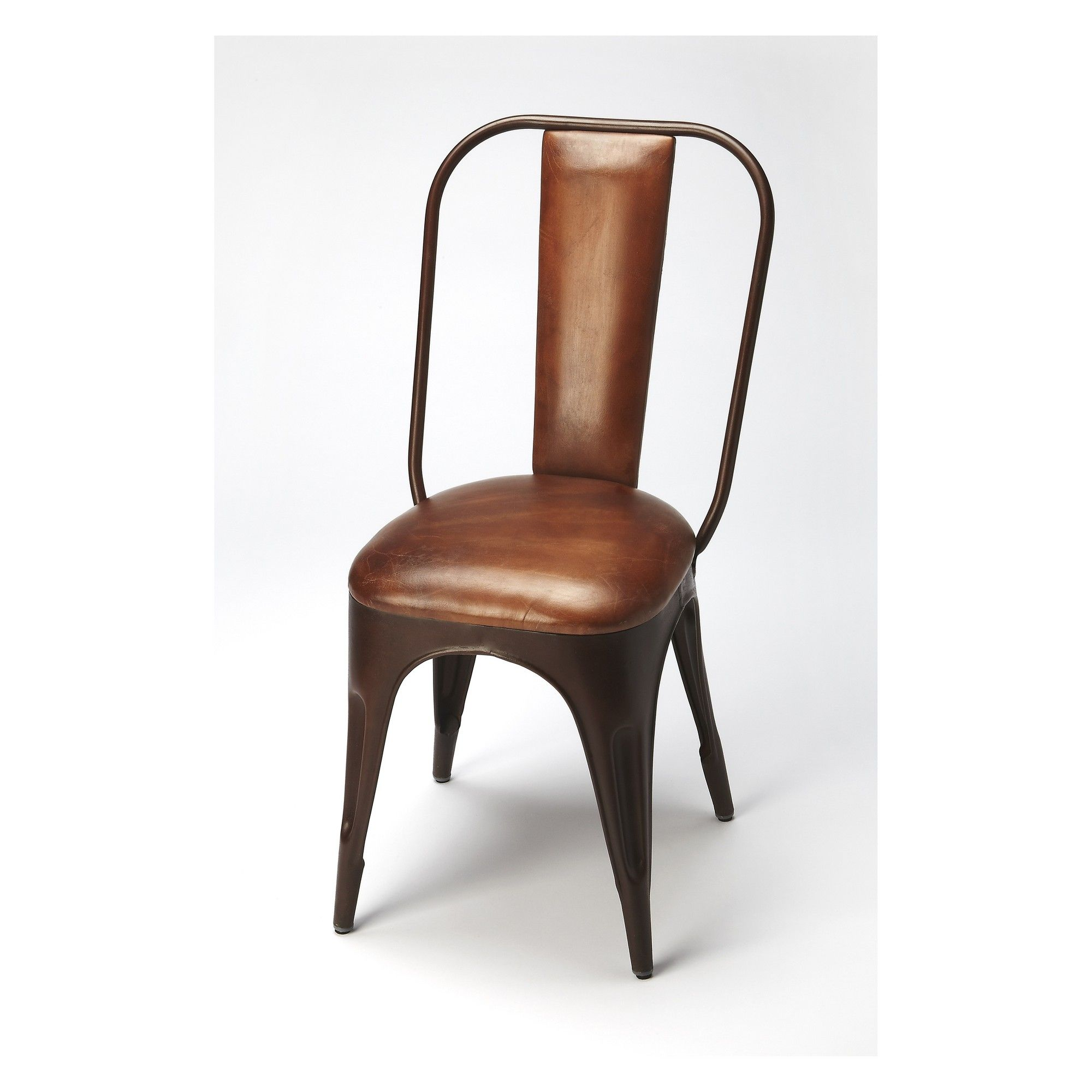 Butler Specialty Riggins Iron And Side Chair Brown Leather
