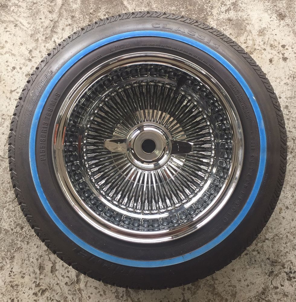 13x7 100 Strait Spoke All Chrome Wire Wheels Complete 155-80-13 ...