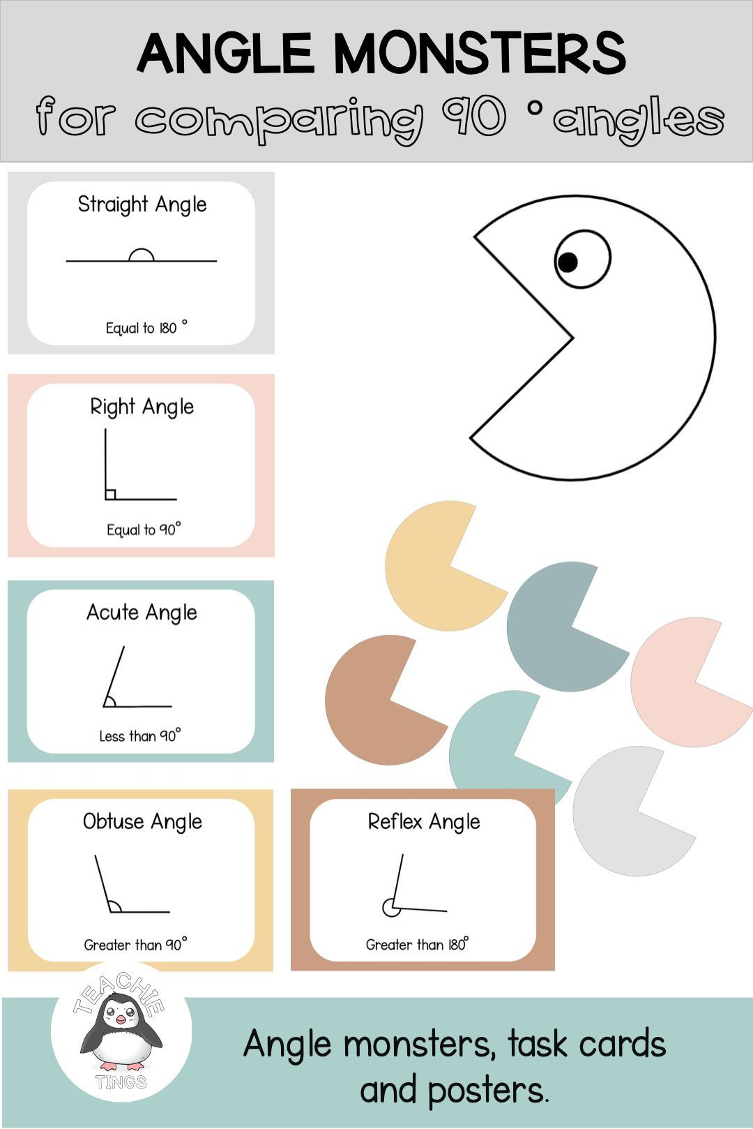Angles Acute Right Obtuse Straight And Reflex Task Cards And Posters Task Cards Cards Identifying Angles [ 1618 x 1080 Pixel ]