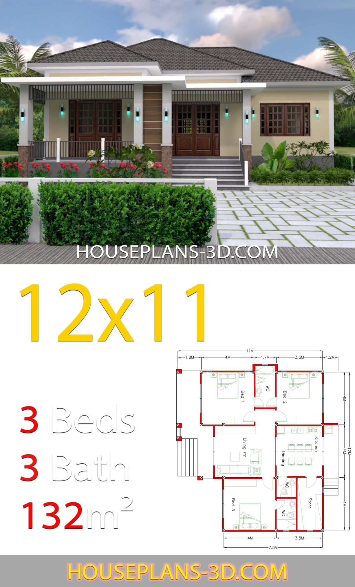 Home Design 12x11 With 3 Bedrooms Hip Roof House Plans 3d House Plans House Roof House Construction Plan