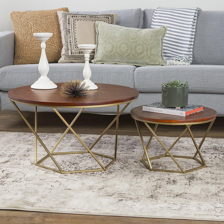 Amazon Com We Furniture Geometric Glass Nesting Coffee Tables
