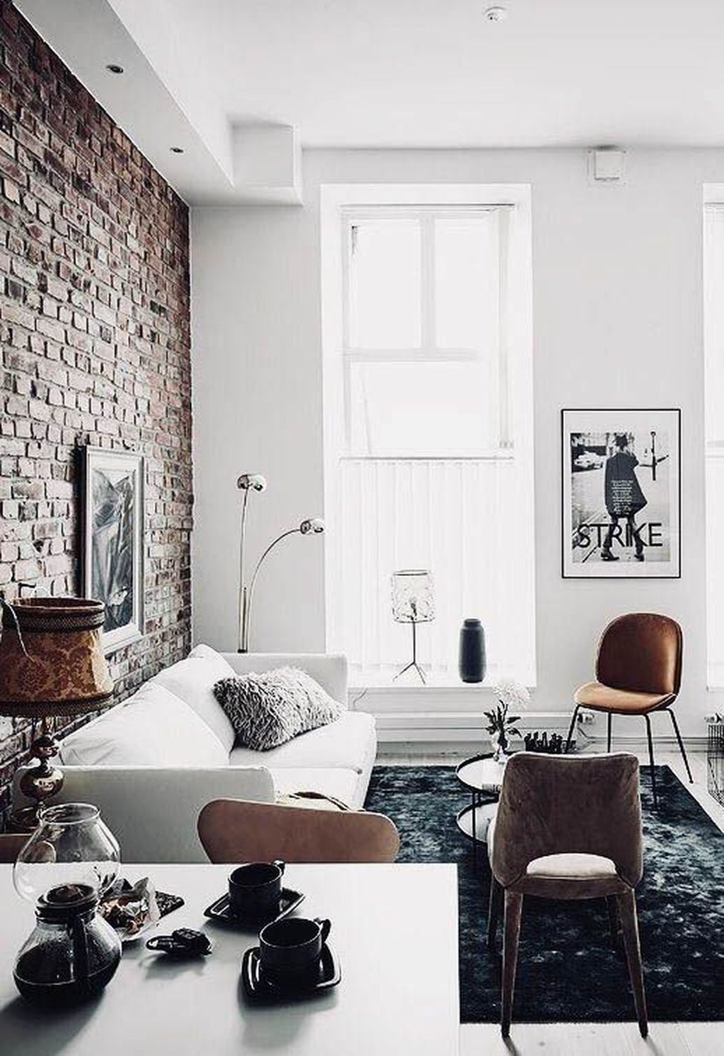 Lighting And Furniture From The Best Uk Interior Designers Www Delightfull Eu Visit Us For In Brick Living Room Apartment Interior Brick Wall Living Room