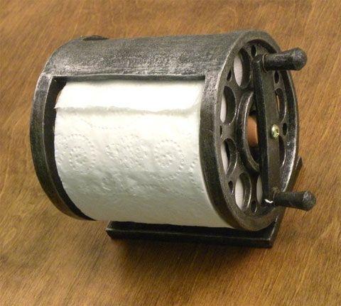 Fishing reel toilet paper holder lake cabins toilets for Fishing reel toilet paper holder