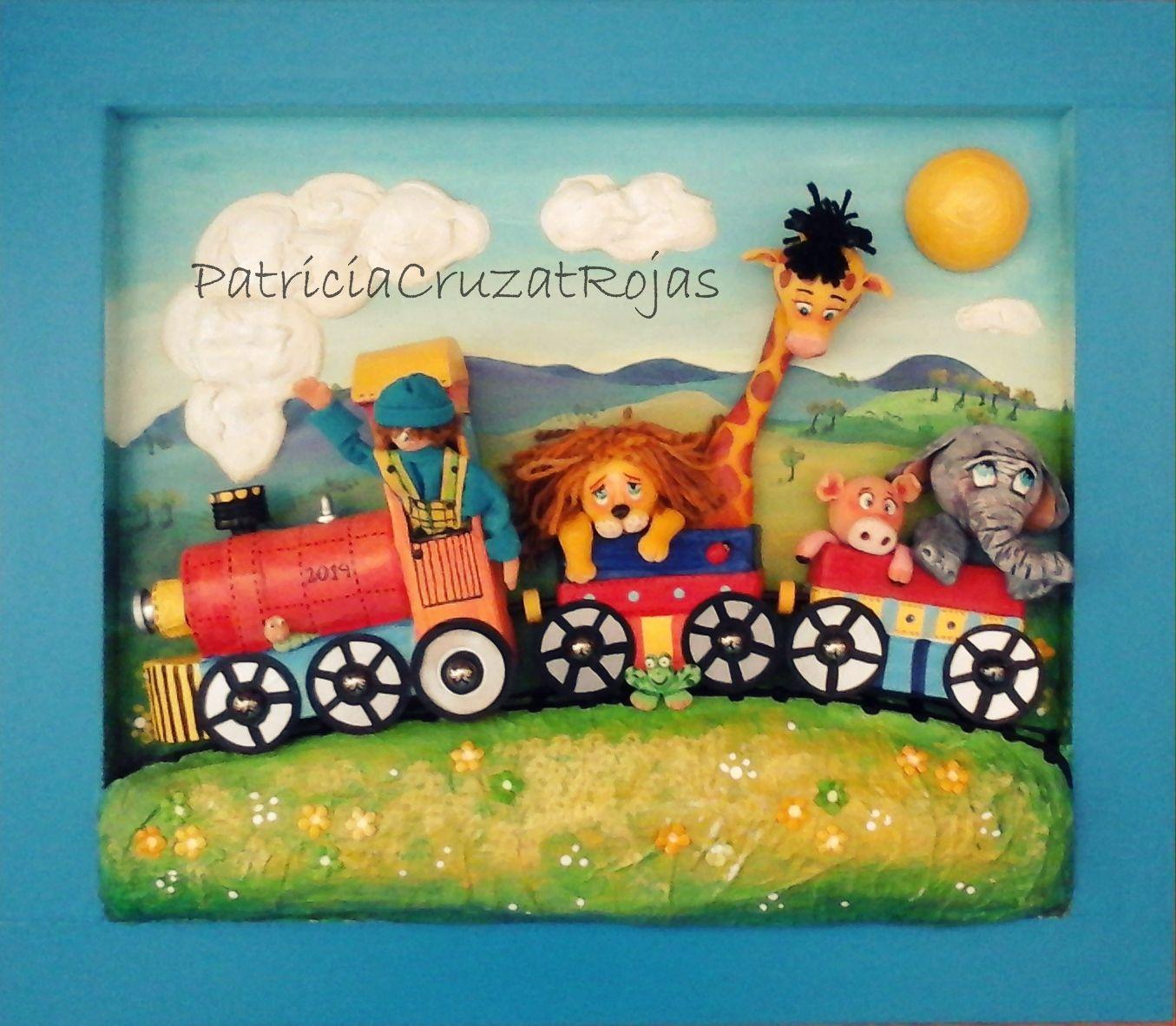 Cuadro en relieve Tren con Animales 50x40cm | tren | Pinterest ...