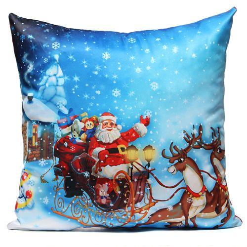 Christmas New Year Santa Snowman Cushion Cover Throw ...