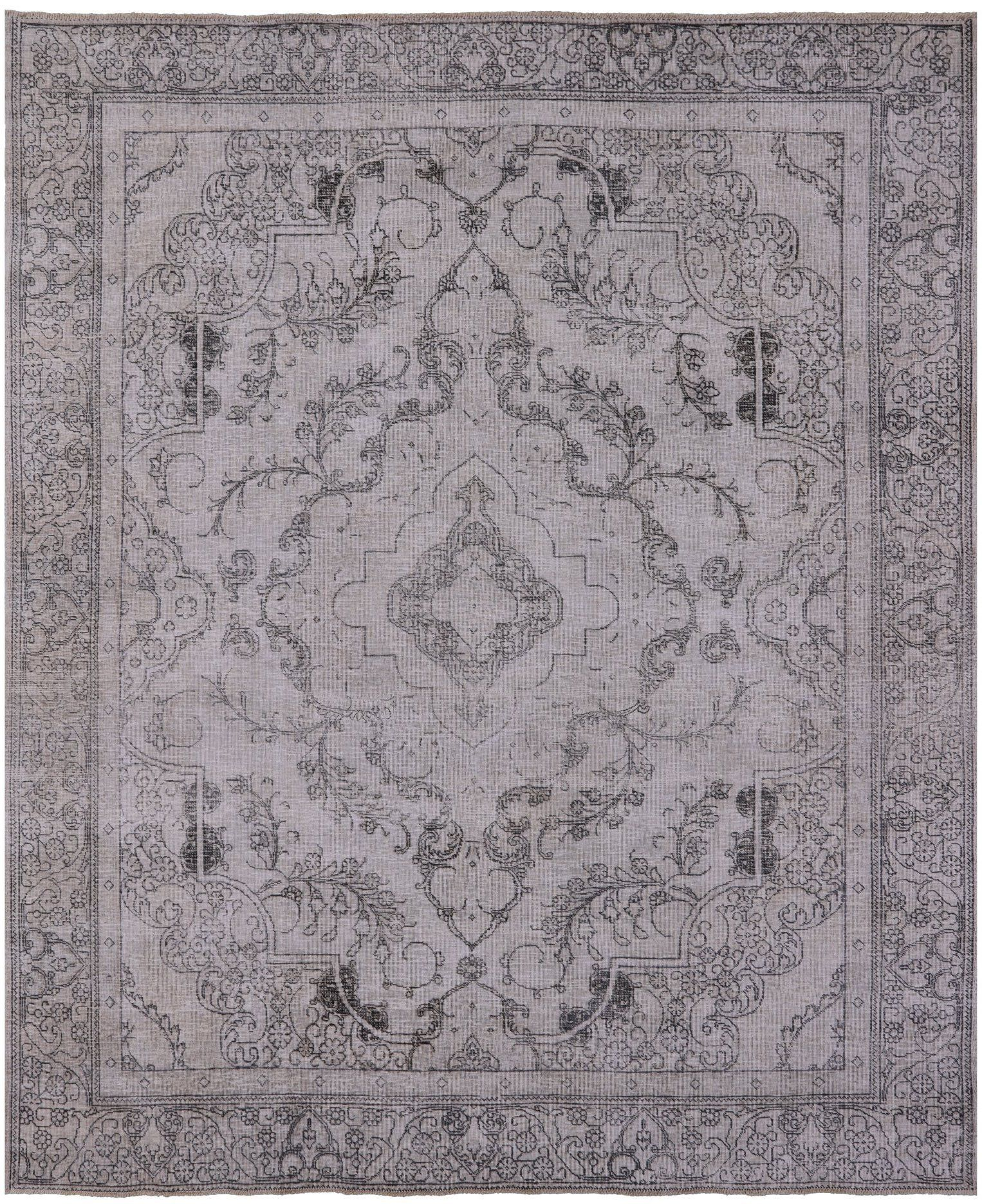 Persian Vintage White Wash Hand Knotted Wool Area Rug 9 7