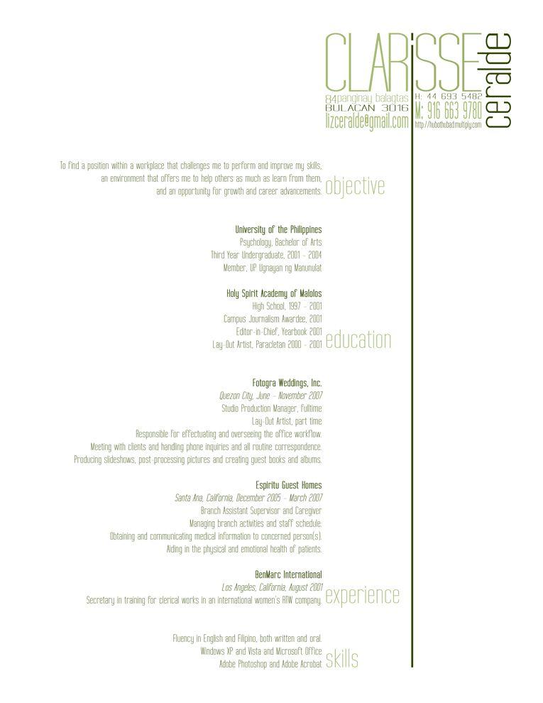 resume Bitchin Portfolio Pinterest Design resume, Graphic