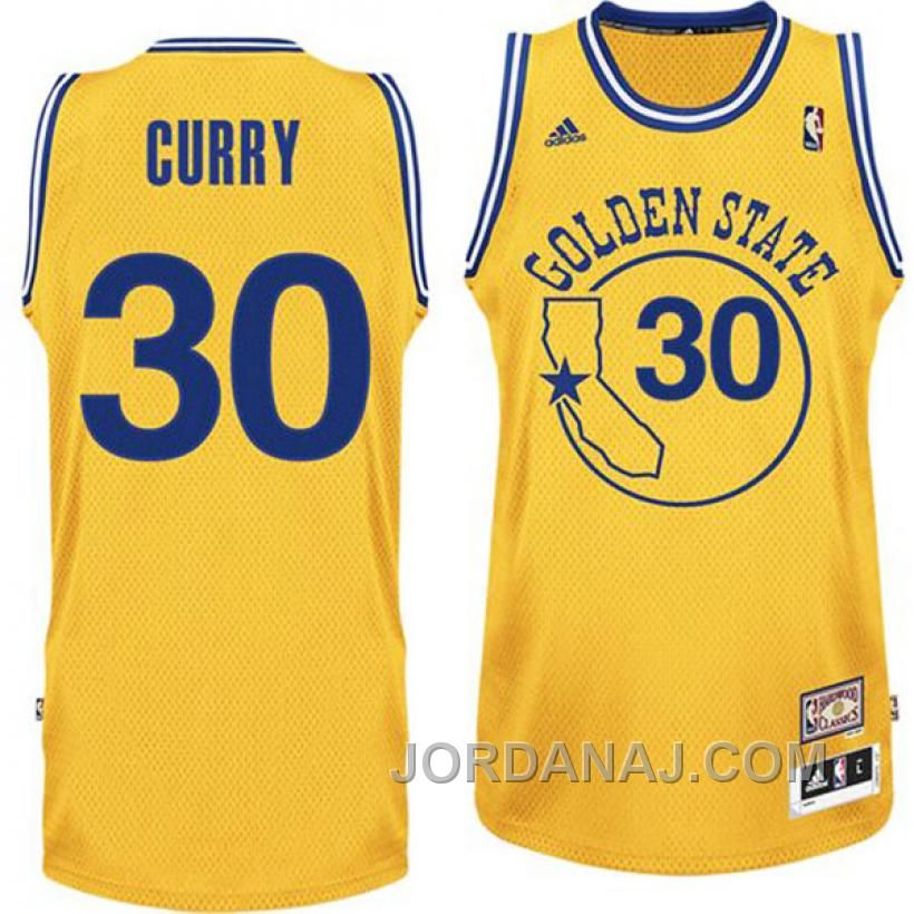 66beb35cd Stepen Curry Jersey - Golden State Warriors 30 Yellow Throwback Jersey.  Stitched name and numbers