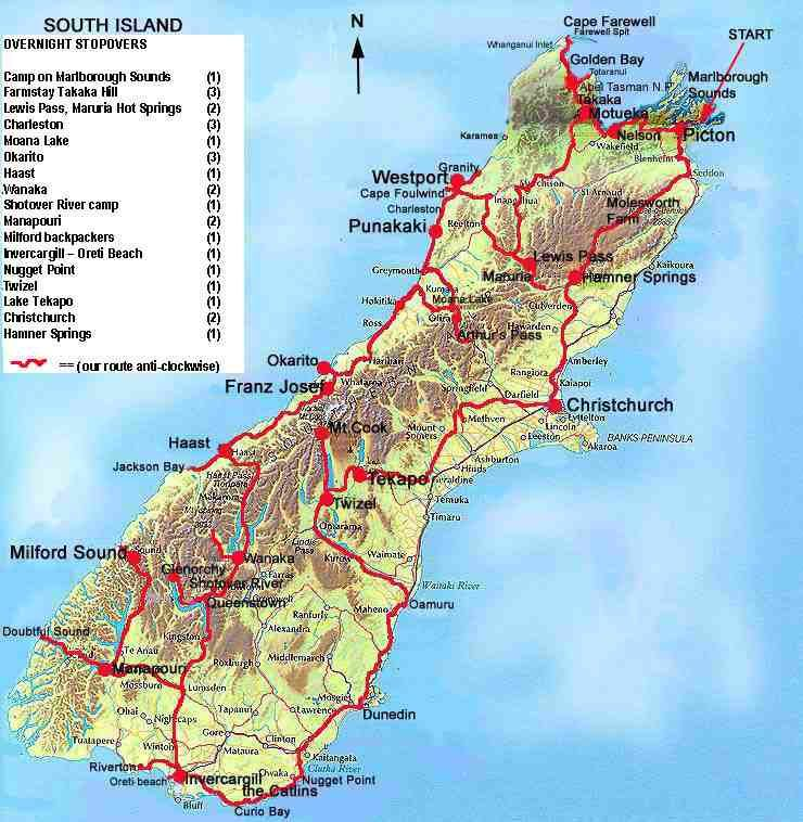Just our Pictures of New Zealand  South Island Map and Trip