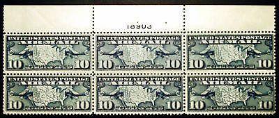 #C7 Air Post 10c Dark Blue 1926 XF Plate #18903 Block of 6 *MNH*