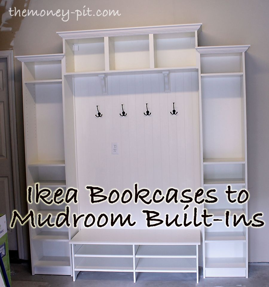 Adding Mudroom BuiltIns to the Garage made out of IKEA bookcases