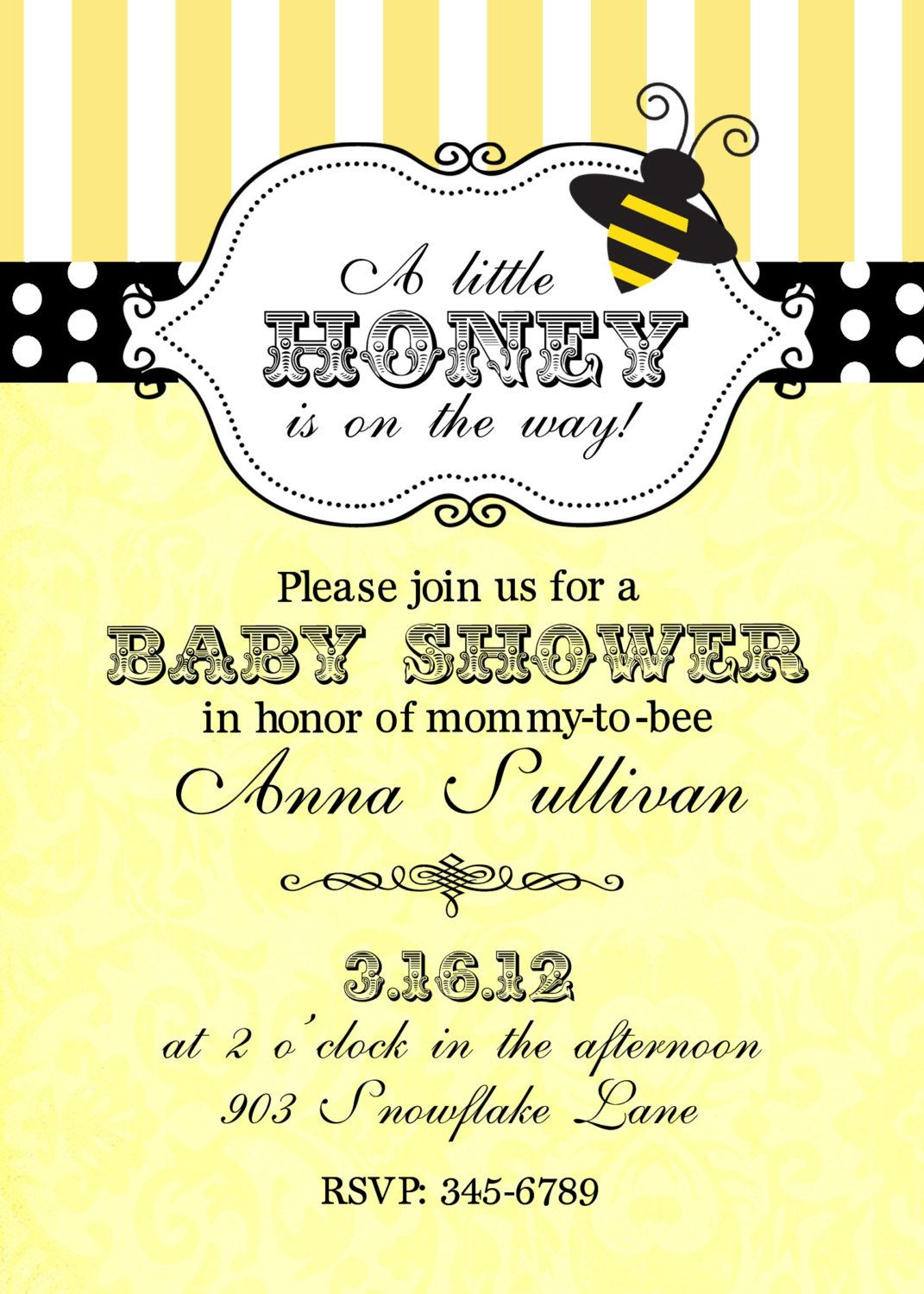 Good Bumble Bee Baby Shower Invitations Digital Or Printable File By  Noteablechic On Etsy