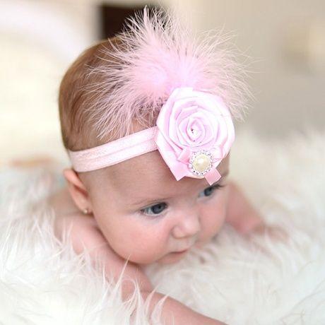 Tocado para beb s con plumas y perla divertido adornos - Adornos para bebes ...