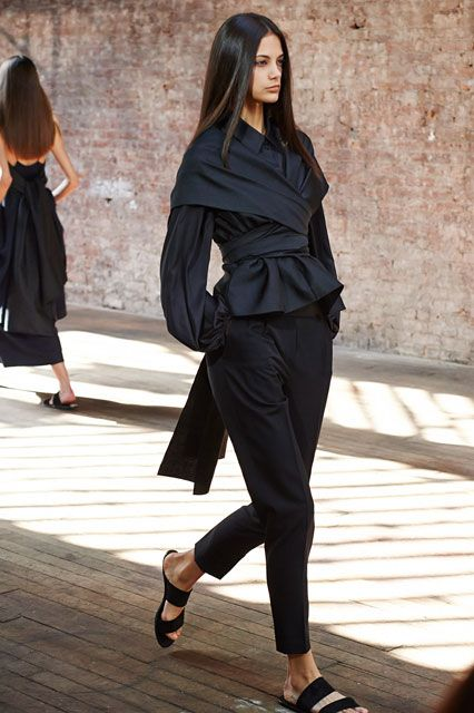 31 All-Black Outfit Ideas That Are Seriously Creative #refinery29  http://www.refinery29.com/creative-black-outfits#slide7  Experimenting with new shapes? Black is always a flattering color to give it a go.