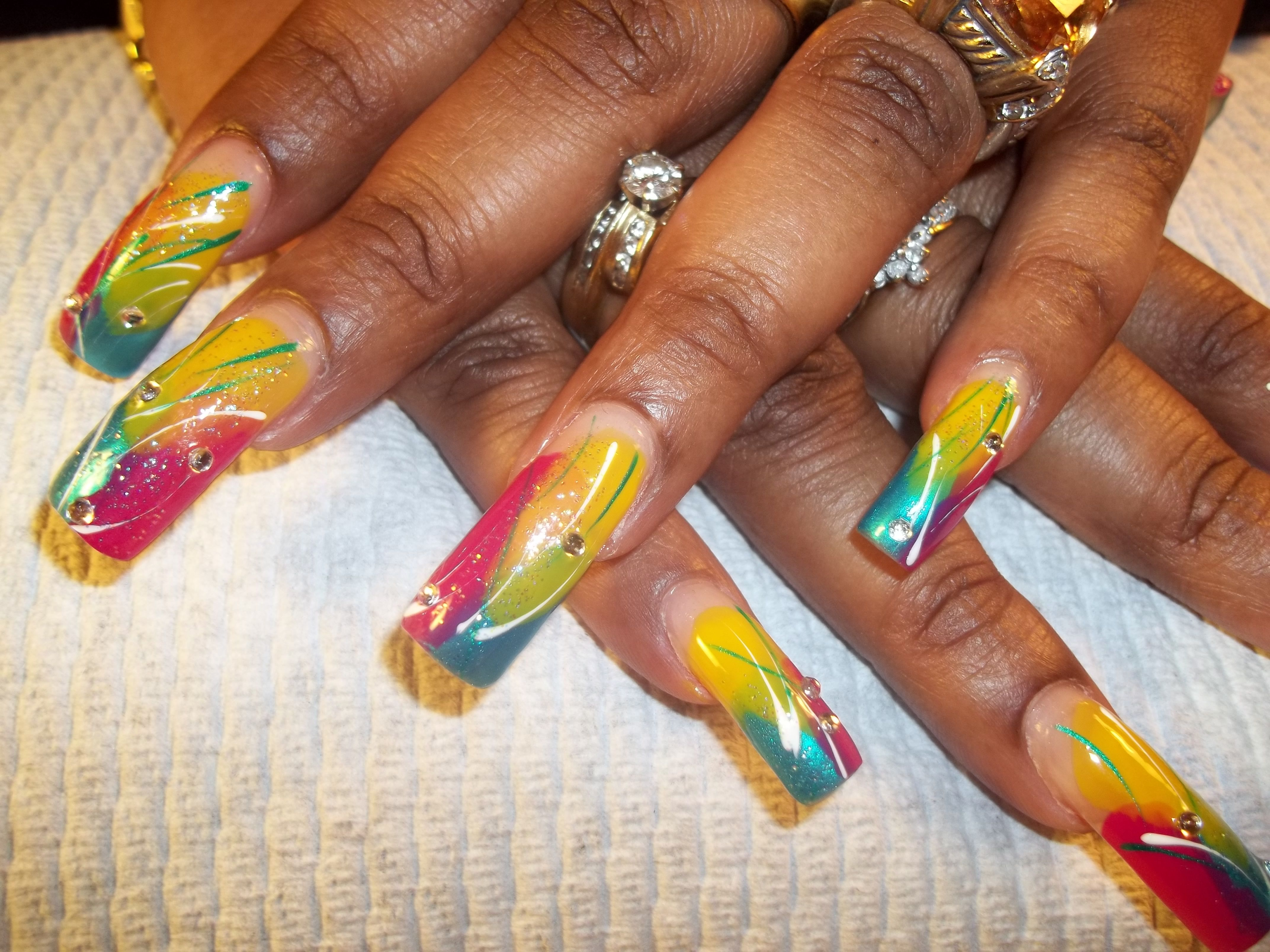 Tropical Island Nails Freehand design done with OPI polish and ...