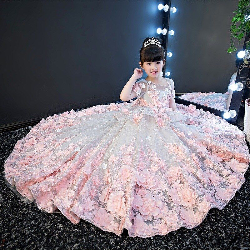 3a076717db27 Girls Wedding Dress Kids Princess Dress Flower Fairy Piano ...