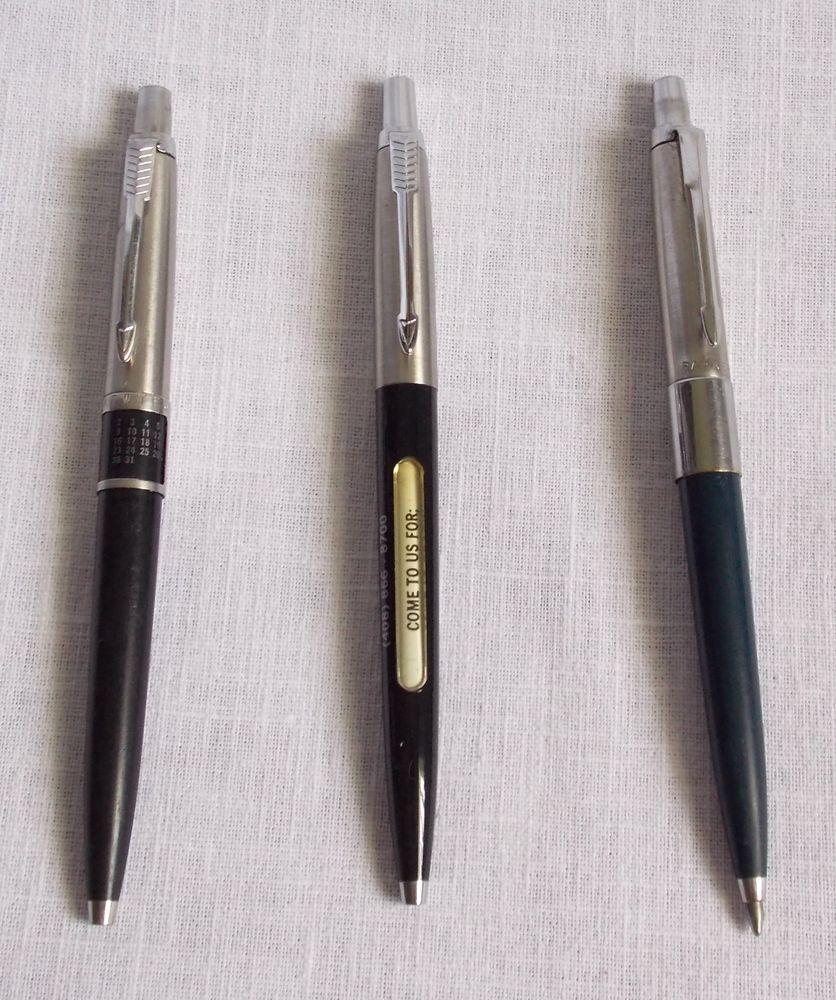 3 vintage parker ball point pens eternal calendar rolling
