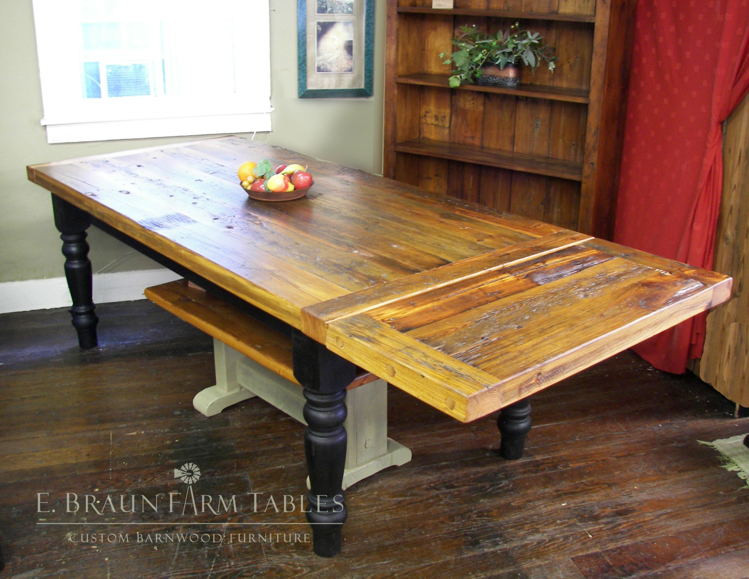 Reclaimed yellow pine farm table with pany board extension E