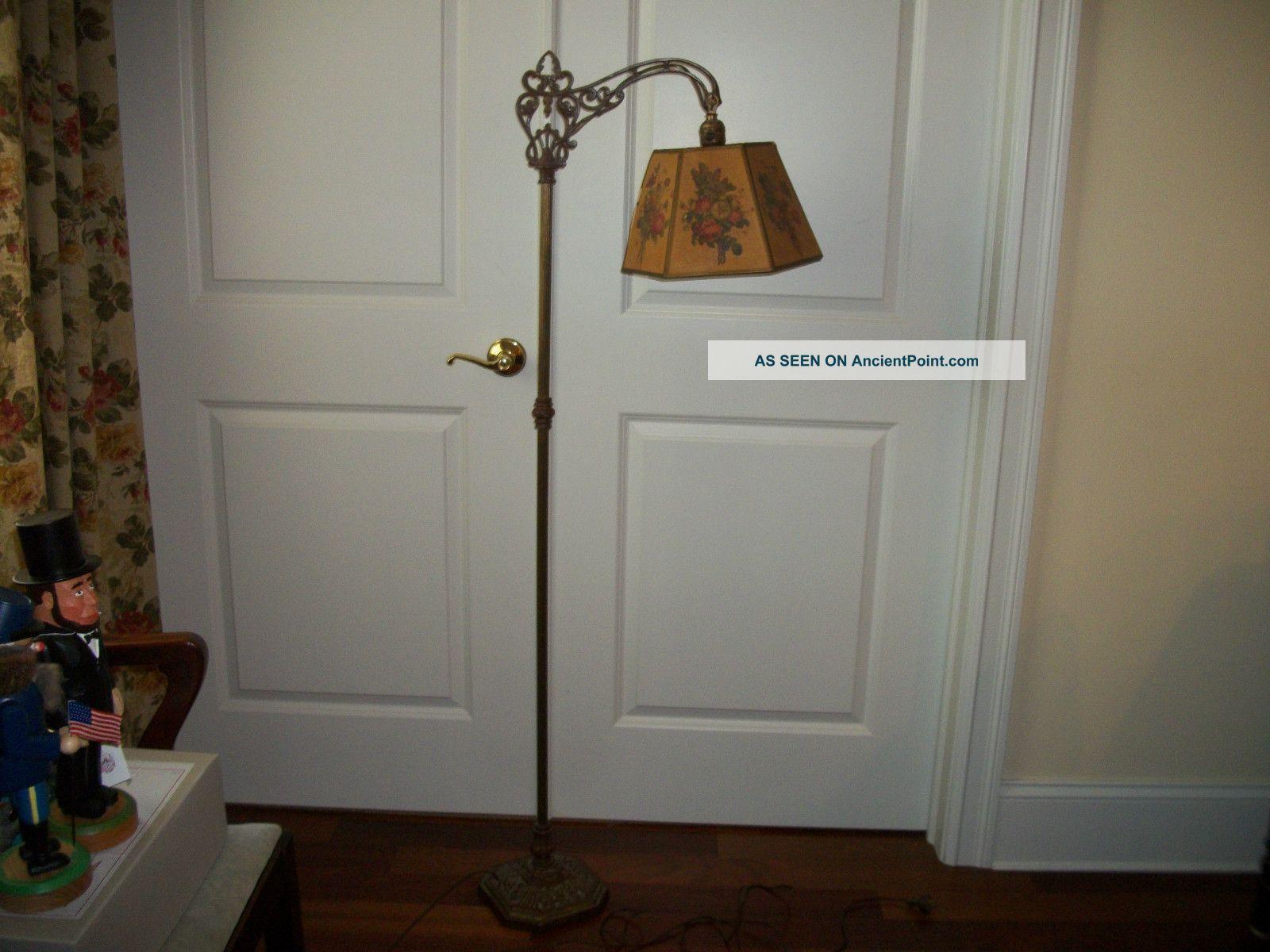 vtg_early_1920__s_antique_art_deco_bridge_arm_cast_iron_floor_lamp ...