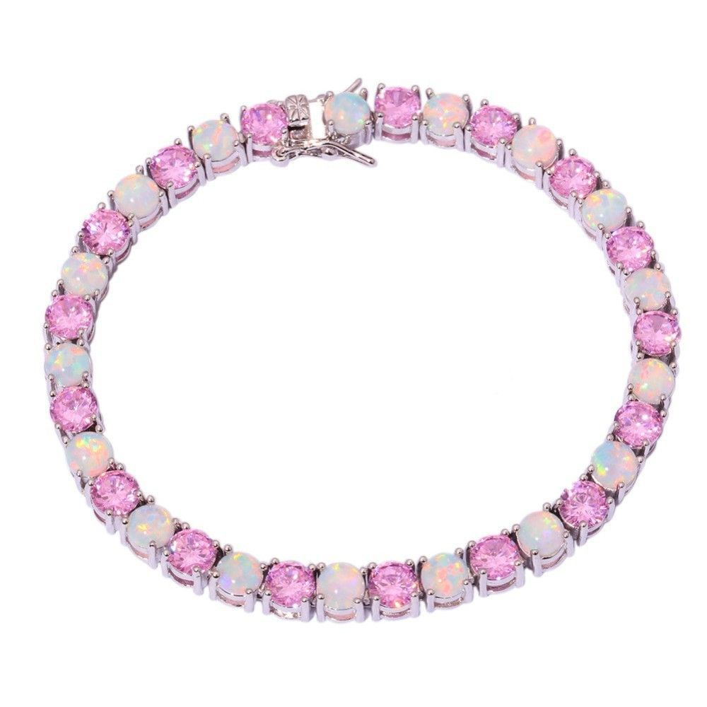 White fire opal pink zircon silver bracelet wholesale retail fashion