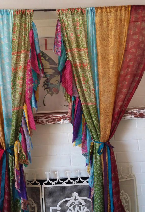 Boho Curtains Gypsy Bohemian By HippieWild India Sari Patchwork SULTANA Saree Silk Hippie Hippy