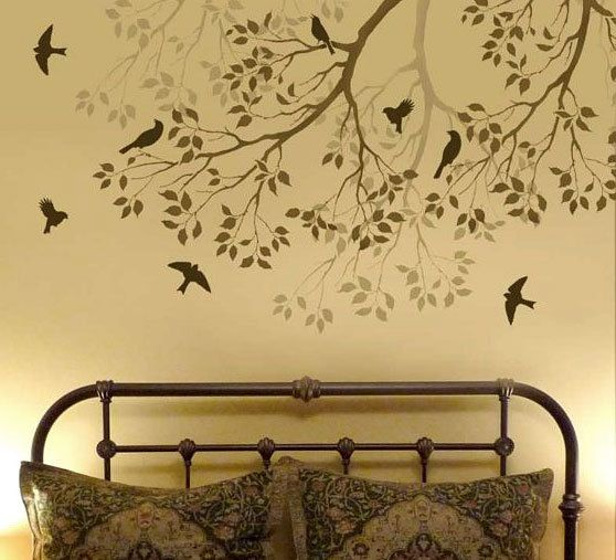 Wall Stencil Spring Songbirds - Reusable stencils better than decals - DIY decor