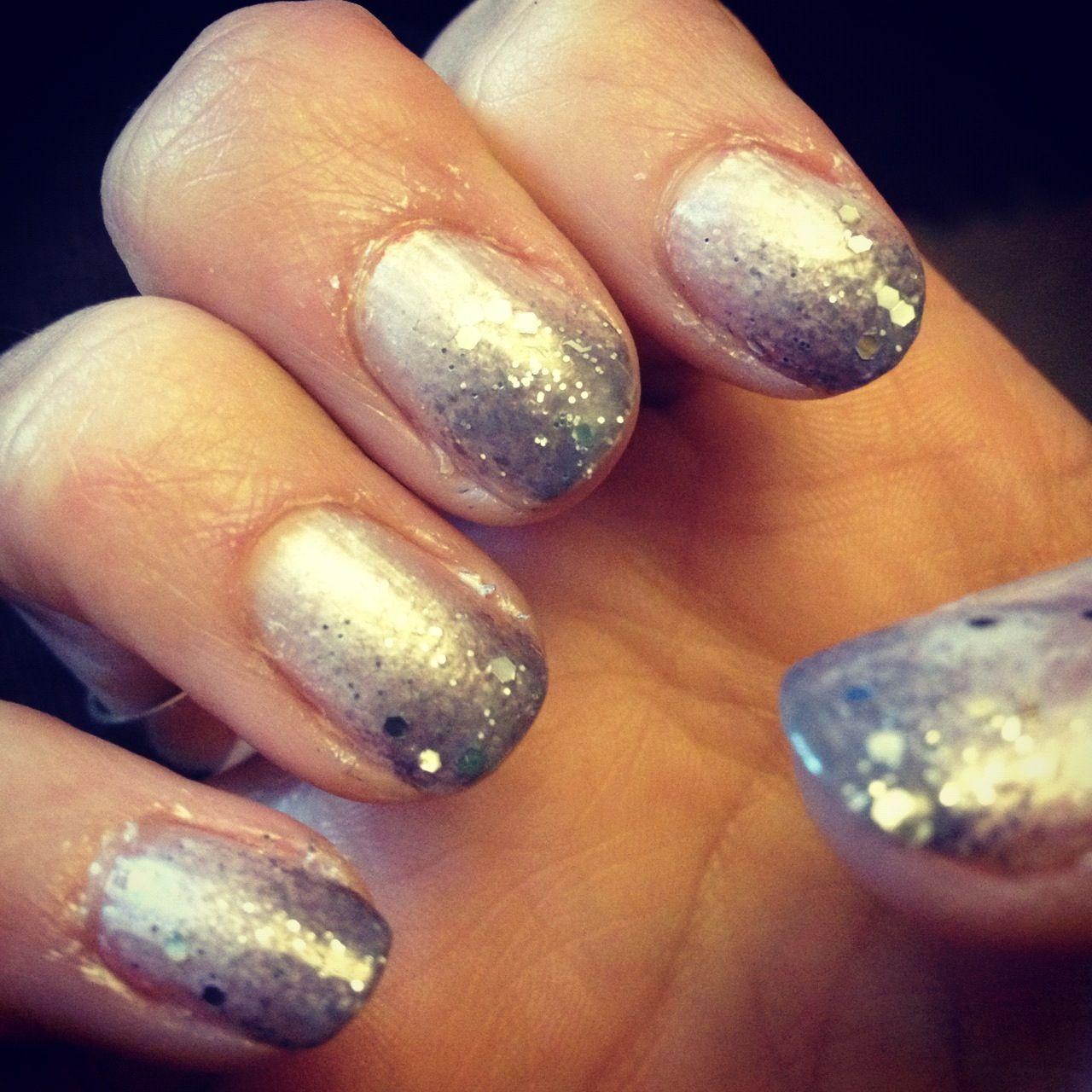 grey acrylic nails with ombré glitter 🧸💞 | Nails, Acrylic