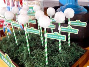 Rustic whimsical sesame street birthday party sesame street light post cake pops from a rustic whimsical sesame street birthday party via karas party ideas aloadofball Choice Image