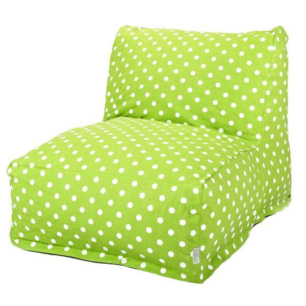Lime Green Small Polka Dot Lounger Foam Bean Bag Chair