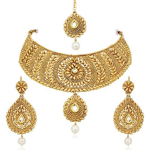 47748ffe9c4620 MEENAZ Gold Plated Choker necklace with drop earring & Mangtika for  Women/girls -