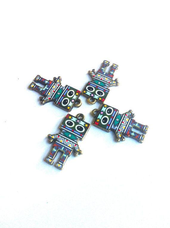 Purple and Green Tribal Print Robot Charms 4pcs by KajaSupplies