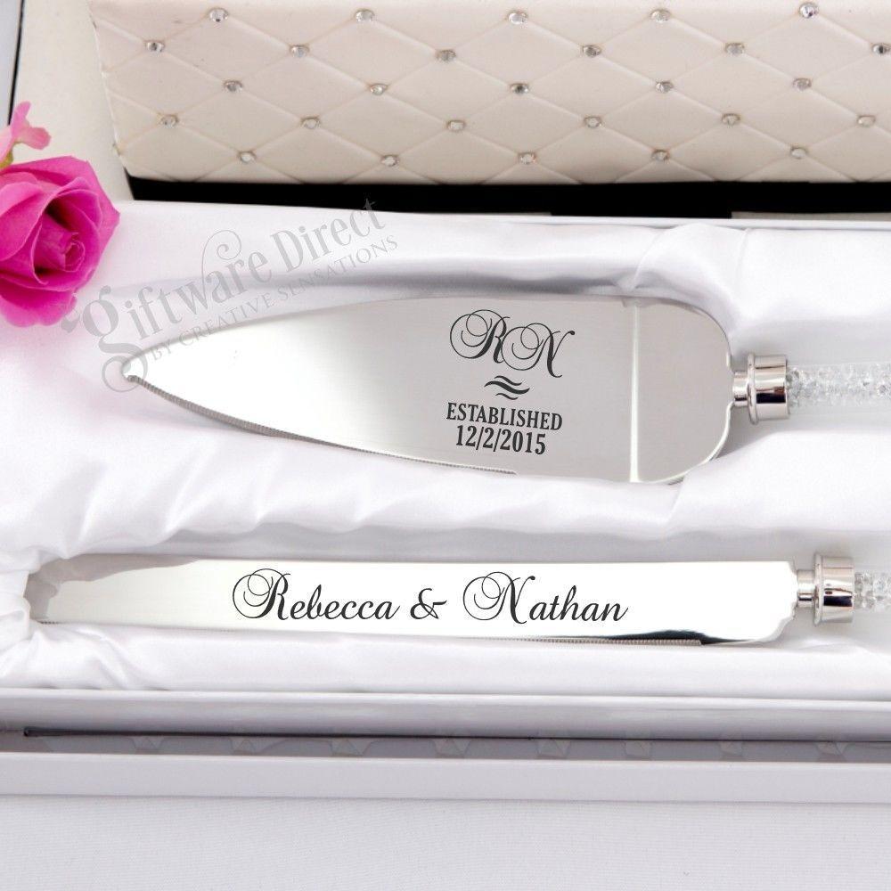 Personalised Engraved Cake Serving Wedding Set Knife Engagement Server Stainless Ebay