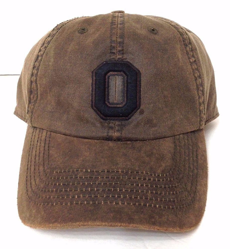 26c530ab616 Htf Vtg Faded-Leather-Look OHIO STATE BUCKEYES HAT relaxed-fit dad-cap  7-1 4-3 8  OSU  OhioStateBuckeyes