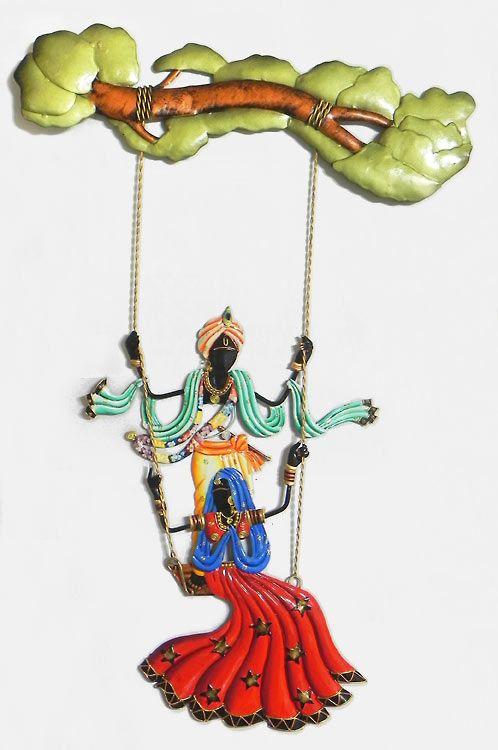 Radha Krishna On A Swing Wall Hanging Clay Wall Art Indian