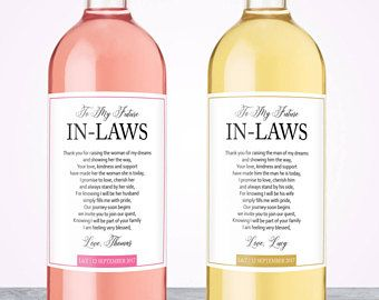 Unique Wedding Gift Wine Labels Parents Mother In Law For Father