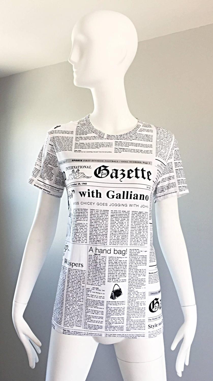 8b92de8cc Iconic John Galliano Unisex Newspaper Newsprint Black and White Tee T Shirt  Top