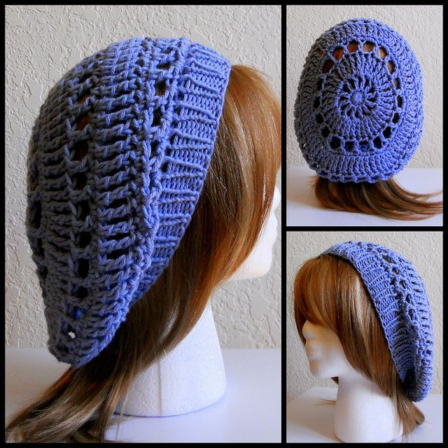 Cute sloucy hat... instructions for crocheted band here: http://www ...