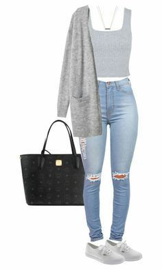 #Summer #Outfits / Grey Tank Top + Skinny Ripped Jeans – Outfits for Work