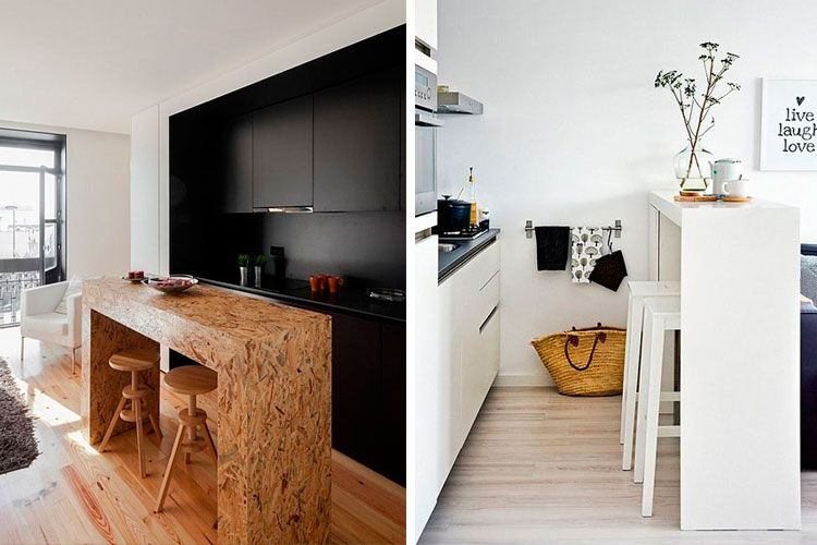 Cocinas pequeñas con barra americana Decofilia Sala de estar - cocinas con barra